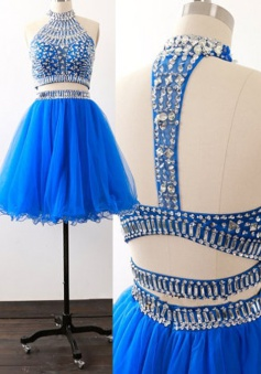 Stylish Two Piece Short Sleeveless Royal Blue Homecoming Dress with Beading