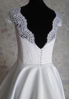 4fc862a8ede Vintage Scalloped-Edge Cap Sleeves Knee-Length Open Back Lace White Homecoming  Dress - Wisebridal.com
