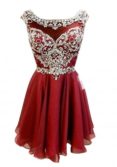 New Arrival Bateau Cap Sleeves Short Wine Homecoming Dress with Beading