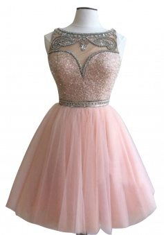 Sweet Bateau Sleeveless Short Pink Homecoming Dress with Beading Sequins