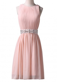 Elegant Jewel Knee-Length Sleeveless Pink Homecoming Dress with Beading Waist Pleats