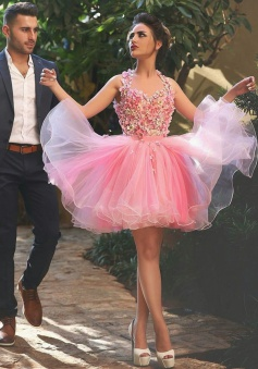 Gorgeous Halter Open Back Short Organza Peach Homecoming Dress with Appliques Beading Bowknot