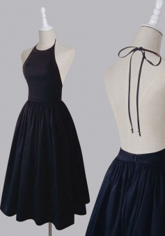 Simple Halter Sleeveless Tea-Length Open Back Dark Navy Homecoming Dress