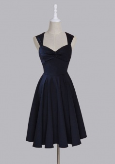 Simple Sweetheart Sleeveless Tea-Length Ruched Dark Navy Taffeta Homecoming Dress