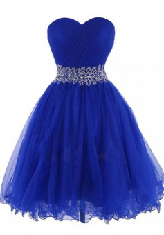 Modern Sweetheart Short Royal Blue Homecoming Dress with Beading Waist Pleats
