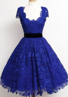 Timeless Scoop Cap Sleeves Royal Blue Lace Homecoming Dress with Black Sash