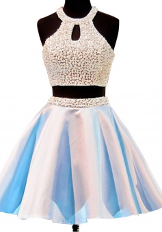 Hot-selling Short Open Back Jewel Sleeveless Homecoming Dess with Pearls