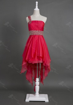 Particular Design One Shoulder Asymmetry Red Chiffon Homecoming Dress with Beading Waist