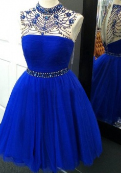 Stunning High Neck Illusion Back Short Royal Blue Homecoming Dress with Beading