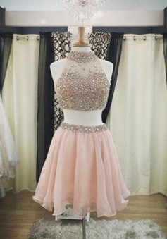 Hot-selling High Neck Two-piece Short Pink Homecoming Dress with Beading Open Back