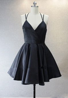 Simple V-neck Sleeveless Short Black Taffeta Homecoming Dress with Spaghetti Straps