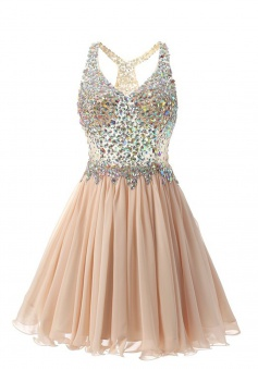 Stunning V-Neck Knee-Length Champagne Homecoming Dress with Beading