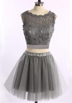 Special Two Piece Scalloped Neck Short Grey Homecoming Dress-Lace Top Beading Waist