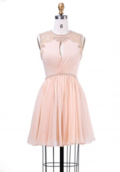 Elegant Jewel Sleeveless Key Hole Short Pink Homecoming Dress with Beading Pearl