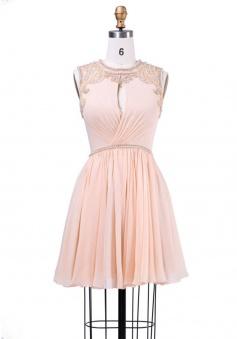Elegant Jewel Sleeveless Key Hole Short Pink Homecoming Dress with Beading Pearl