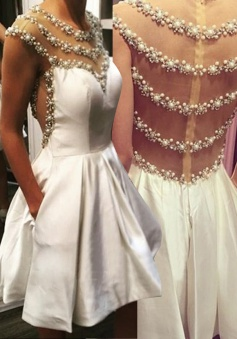 Exquisite Illusion Back  Short Ivory Homecoming Dress Beading Pearls with Pockets