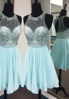 Chic Jewel Sleeveless Short Blue Homecoming Dress with Beading Key Hole Back