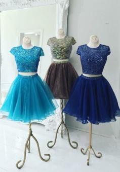 Stunning Two Piece Jewel Cap Sleeves Short Royal Blue Organza Homecoming Dress Beaded