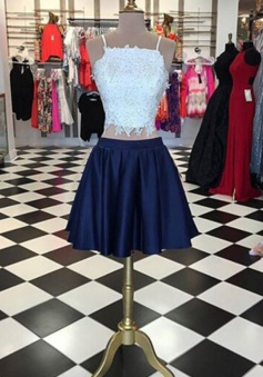 Youthful Two Piece Spaghetti Straps Short Navy Homecoming Dress with Lace Top Beaded