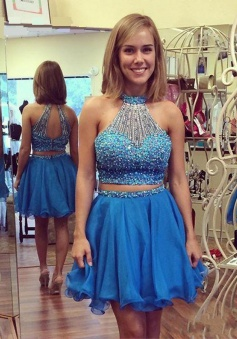 Exquisite Two Piece Key Hole Back Sleeveless Short Sky Blue Homecoming Dress with Pearl