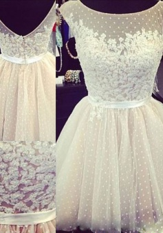 Nectarean Bateau Cap Sleeves Short Open Back Homecoming Dress with Appliques Beading