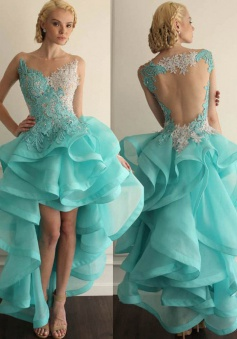 Exclusive Hi Lo Open Back Light Blue Organza Homecoming Dress with Appliques