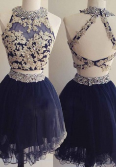 Hot Selling Two Piece Short Dark Blue Homecoming Dress Open Back Beading Appliques