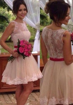 Trendy Jewel Sleeveless Illusion Back Short Champagne Homecoming Dress with Lace Red Sash