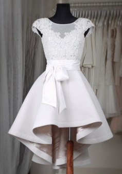 Glamorous Bateau Cap Sleeves Hi Lo White Homecoming Dress with Lace Sash