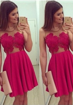 Trendy Jewel Sleeveless Short Rose Pink Taffeta Homecoming Dress with Appliques