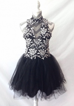 Special High Neck Sleeveless Short Black Homecoming Dress with Appliques