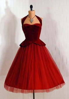 Vintage Halter Sleeveless Mid-Calf Burgundy Homecoming Dress
