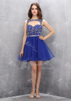 Special Bateau Key Hole Sleeveless Short Royal Blue Homecoming Dress with Beading