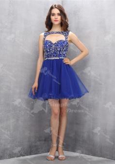 Special Bateau Key Hole Sleeveless Short Royal Blue Homecoming Dress with Beading