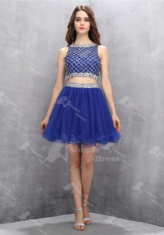 Hot Selling Bateau Two Piece Short Royal Blue Homecoming Dress with Beading