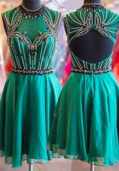 High Quality Jewel Sleeveless Open Back Short Jade Homecoming Dress with Beading