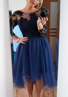 Generous Bateau 3/4 Sleeves Knee-Length Navy Blue Homecoming Dress with Black Lace Top