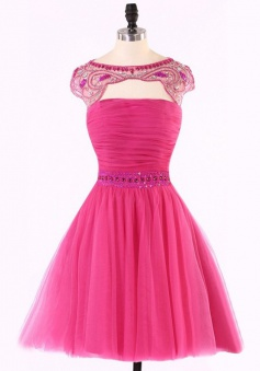 Special Bateau Cap Sleeves Key Hole Open Back Rose Pink Homecoming Dress with Beading