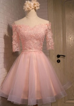 Exquisite Off Shoulder Half Sleeves Knee-Length Pink Organza Homecoming Dress with Appliques Sash