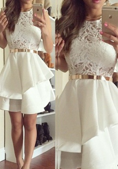 Stylish Jewel Sleeveless Short Ivory Homecoming dress with Lace Top Sash