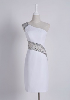 Stylish One Shoulder Short Sheath White Homecoming Dress with Beading Illusion Back