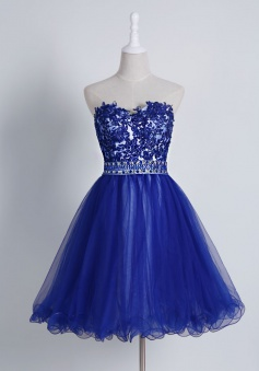 Hot Selling Sweetheart Short Royal Blue Homecoming Dress with Appliques Beading Waist