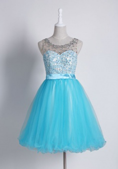 Crispy Jewel Sleeveless Short Homecoming Dress Beading Lace with Sash