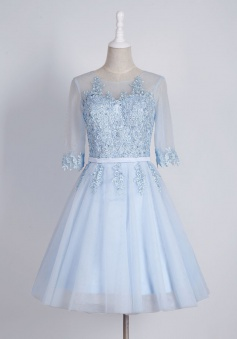 Generous Bateau Half Sleeves Short Homecoming Dress with Appliques Sash