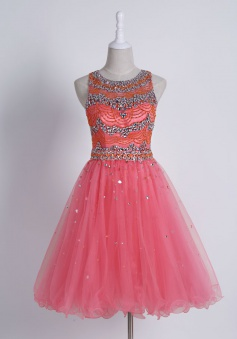 Stunning Jewel Sleeveless Short Watermelon Homecoming Dress with Beading