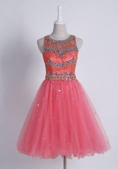 Stunning Jewel Sleeveless Short Watermelon Homecoming Dress with Beading