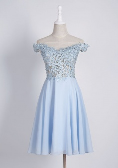 Delicate Off Shoulder Cap Sleeves Short Homecoming Dress with Appliques Beading Illusion Back