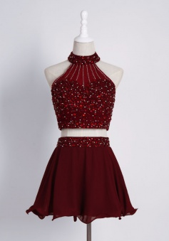 Crispy Two Piece High Neck Burgundy Mini Homecoming Dress with Beading