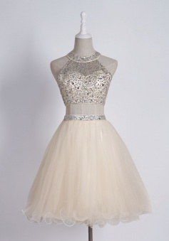 Sexy Two Piece Sleeveless Short Light Champagne Homecoming Dress with Beading