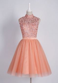 Glamorous High Neck Short Coral Homecoming Dress with Appliques Backless